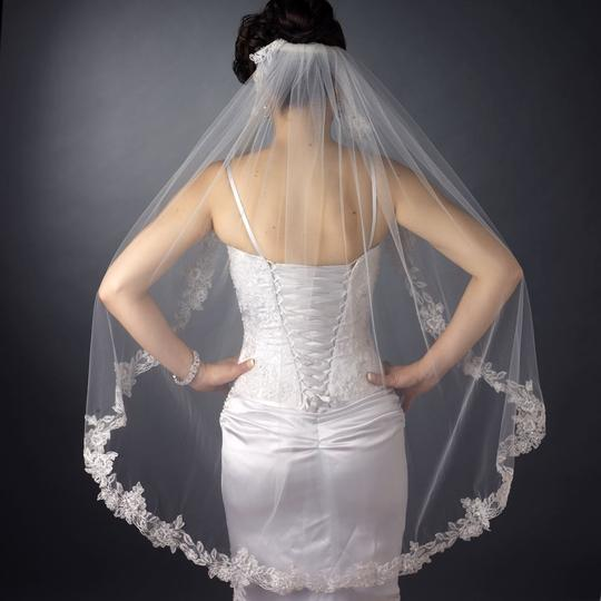 Elegance By Carbonneau White Beaded Embroidery Fingertip Length Bridal Veil