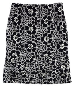Lafayette 148 New York Navy White Floral Eyelet Skirt