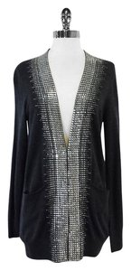 Tory Burch Grey Wool Silver Studded Cardigan