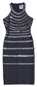 Hervé Leger short dress Grey Sequined Striped Bandage on Tradesy