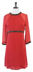 French Connection short dress Coral Silk Bead Detail on Tradesy