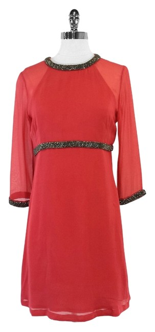 Preload https://item1.tradesy.com/images/french-connection-coral-silk-and-bead-detail-mini-short-casual-dress-size-4-s-12013810-0-1.jpg?width=400&height=650
