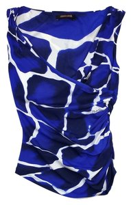 Roberto Cavalli Blue White Print Draped Top