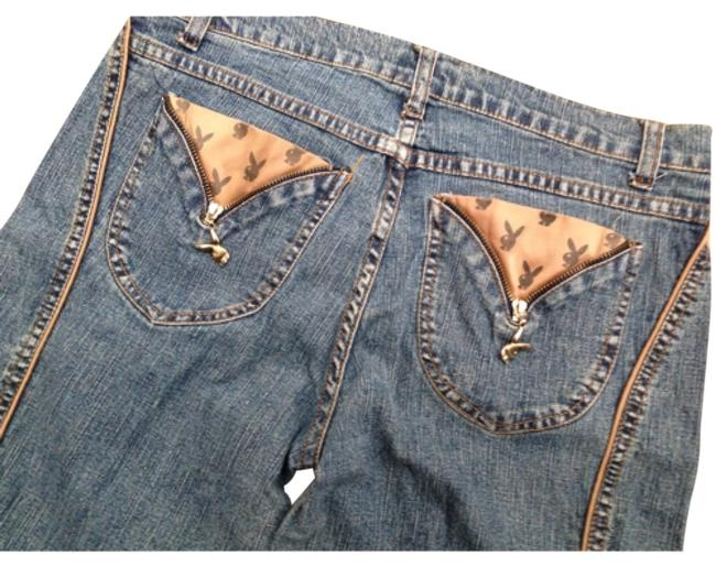 Preload https://item2.tradesy.com/images/playboy-medium-wash-tan-unique-in-and-bunny-logo-accents-flare-leg-jeans-size-33-10-m-12013921-0-1.jpg?width=400&height=650