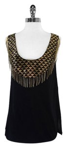 Renzo + Cai Black Gold Bead Fringe Silk Top