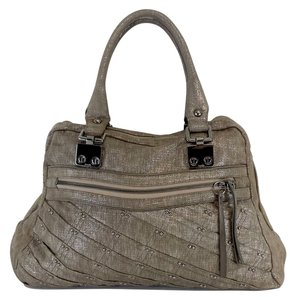 Treesje Metallic Taupe Gunmental Studded Tote