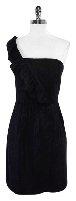 MILLY short dress Metallic Black One Shoulder on Tradesy