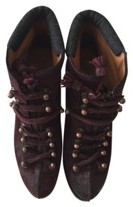 Rag & Bone & Boots Ankle Boots & Mallory Boots Suede Waxed Suede Lace Up Burgundy Platforms