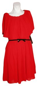 Giambattista Valli Red Above Knee Ruffled Dress