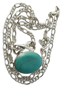 Sterling Kingman Turquoise Pendant with 24