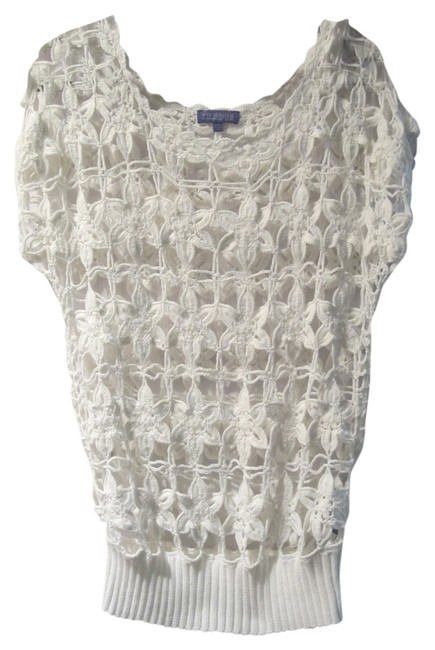 Preload https://img-static.tradesy.com/item/12015079/vivienne-tam-white-floral-open-weave-cotton-sweaterpullover-size-8-m-0-1-650-650.jpg