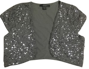 Express Bolero Jacket Silver Sequin Top Gray