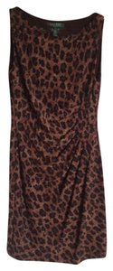 Ralph Lauren Versatile Sleeveless Animal Print Work To Evening Dress