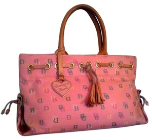 Dooney & Bourke & Leather Monogram Tote in Pink