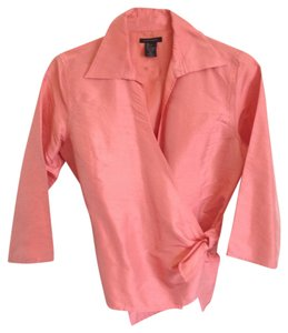 Anne Carson Silk Wrap 3/4 Length Sleeve Top Salmon Pink