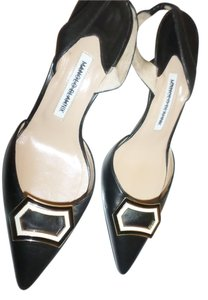 Manolo Blahnik Metallic Hardware BLACK Pumps