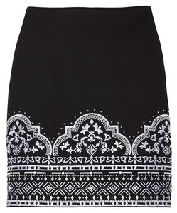 White House | Black Market Mini Embroidered Pencil Skirt Black and White