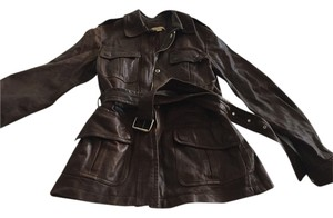 Michael Kors Leather Bomber Military Chocolate Brown Leather Jacket