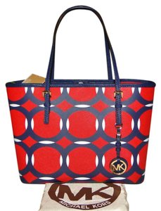 Michael Kors Jet Set Mk Fob Tote in Red White Blue