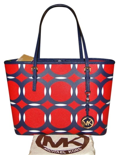 michael kors new jet set deco small travel red white blue tote bag. Black Bedroom Furniture Sets. Home Design Ideas