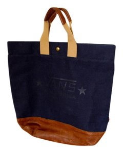 Vans Leather Durable Strong Big Tote in Blue