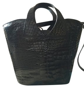Suarez Crocodile Pristine Satchel in Black