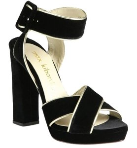 Max Kibardin Black Chiffon High Heel Black Velvet Pumps