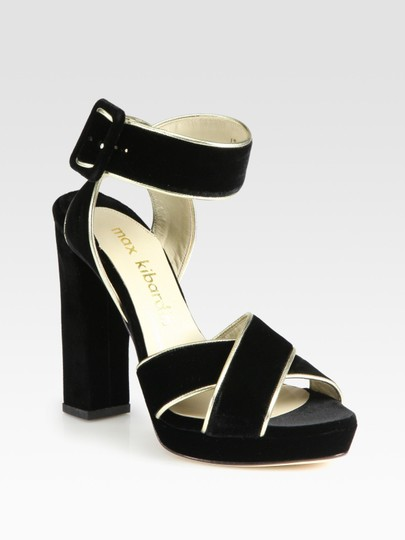 Max Kibardin Chiffon High Heel Black Velvet Pumps