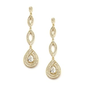 Ultra Glam Crystal Pave Drop Gold Bridal Earrings