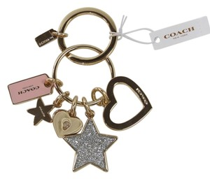 Coach Coach Open Heart Glitter Star Charms Key Ring Fob Charms Gold Pink