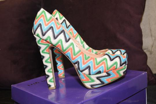 Madden Girl Zigzag New Platform Chic Orange Blue Pumps