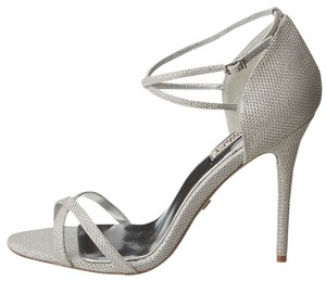 Badgley Mischka Evening Bridesmaid Silver Metallic Sandals