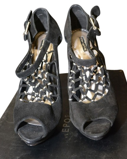 REPORT Silver Beaded Open Toe Chic Designer Black Pumps