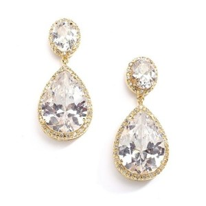 Hollywood Glam 14k Gold Crystal Pear Drop Bridal Earrings