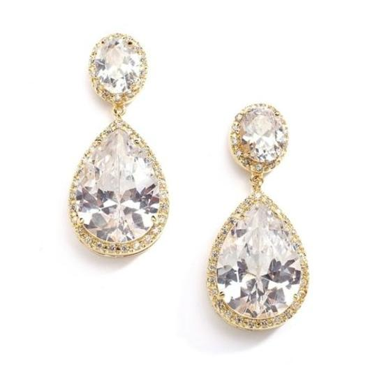 Gold Hollywood Glam 14k Crystal Pear Drop Earrings