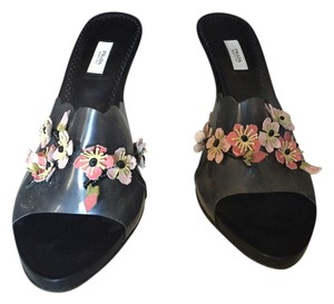 Prada Flowers Leather Detailed Made In Italy Heels Black Pumps