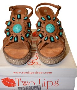 Two Lips Open Toe Leather Beading Wedge Brown Sandals