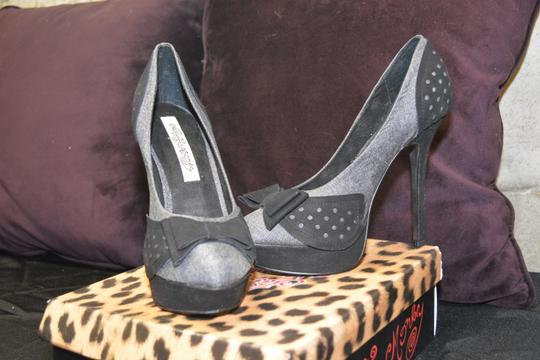 Naughty Monkey Platform Modern Bow Tweed Dust Bags Grey/Black Pumps