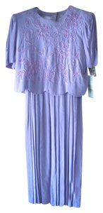 Karin Stevens Embroidered Beaded Vintage Gown Long Scalloped Accordion Pleat Dress