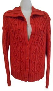 Caslon Nordstrom Blend Cardigan Orange Knit Popcorn Work Weekend Warm School Teacher Saturday Sweater