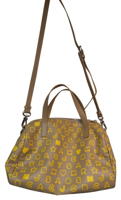 Item - With Letters Tan and Bright Yellow Leather Shoulder Bag