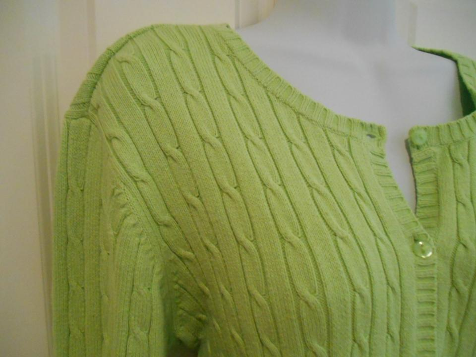 Eddie Bauer Cotton Blend Cable Knit Cardigan 12 14 Lime Green