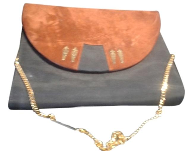 Item - Clutch Or Black Brown Nylon Fabric with Suede Flap Shoulder Bag