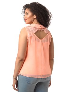 City Chic Lace Two Piece Chiffon Top PEACHY