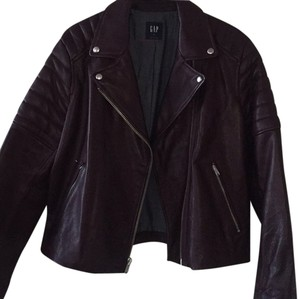 Gap Leather Motorcycle Plum Leather Jacket