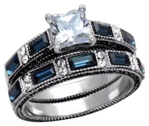 Other 3.45TCW Blue & Clear 2pc Cz Stainless Steel Wedding Ring Set