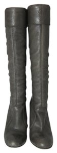 Miss Sixty Knee High Leather Stacked Heels Gray Boots