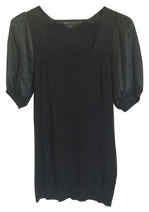 BCBGMAXAZRIA Puffy Sleeves Square Neckline Silk 3/4 Sleeves Cashmere Top Black