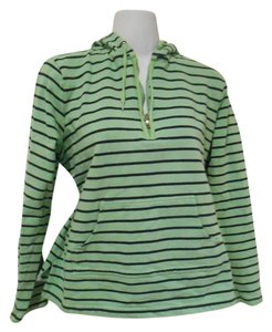 Liz Claiborne Nautical Villager Striped Stripe Stretch Cotton Pullover Sthirt Shirt T-shirt Zip Half Zip Quarter Zip Hood Pockets Sweatshirt