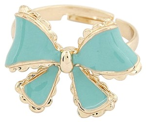Other New Adjustable Bow Ring One Size Teal Gold Tone J1996